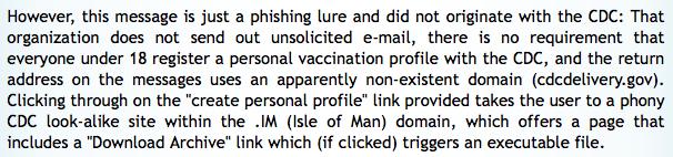 snopes H1N1 phishing