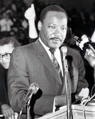Dr. Martin Luther King, Jr. speaking at Mason Temple, Memphis, TN on April 3, 1968